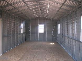 中国 米国によって組立て式に作られる切り妻の鋼鉄小屋、車の貯蔵は鋼鉄建物を取除きます サプライヤー